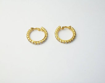 Vintage 1980's Gold Hoop Crystal Costume Jewelry Earrings Gift For Her on Etsy