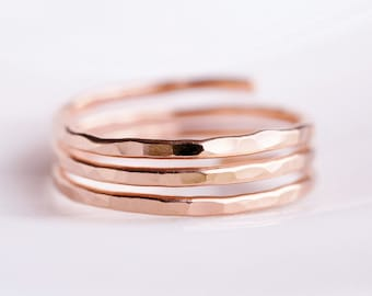 TRINITY Adjustable Wire ring custom sized - 14K ROSE gold filled