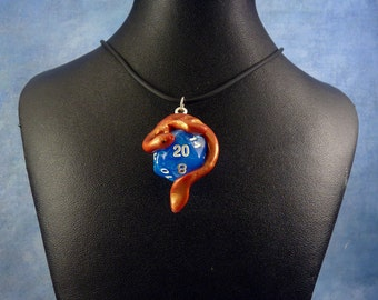 Gilded Red and Blue Dicekeeper Dragon Necklace - D20 Pendant