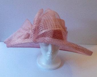 Large Side Brim Sinamay Hat W/ Large Bow