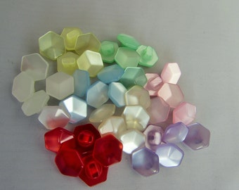 Polyester Hexagonal Pearlescent Buttons