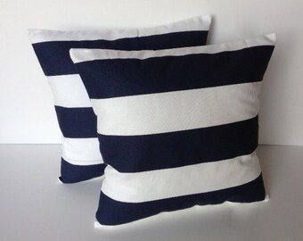 One navy Blue white striped pillow cover, cushion, decorative throw pillow, decorative pillow, accent pillow, 18x18 pillow, pillow case