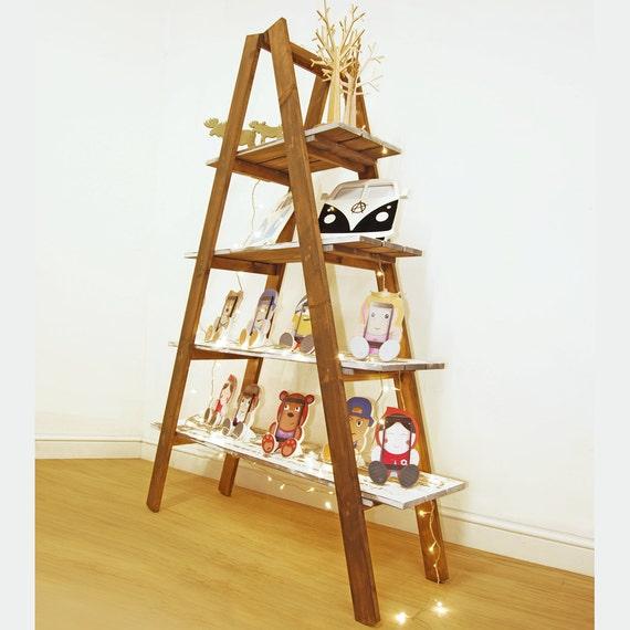 Timber Ladder Shelf Display Shelving Unit Folding Wood