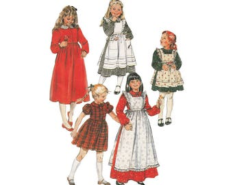 Girls Ruffled Pinafore Apron Pattern in 3 Lengths and Dirndl Dress McCalls 8280 Childrens Size 7 Breast 26 Vintage 1980s Sewing Pattern