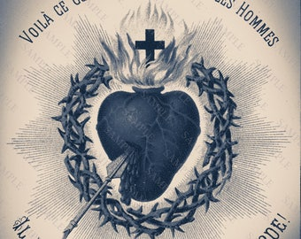 Antique Blue Sacred Heart Art Print, Altered Art Sacred Heart Of Jesus Christ, Religious Art, Gothic Heart Art Print