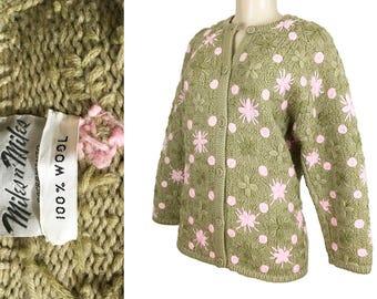Vintage Cardigan Sweater Miles n' Miles Sacramento 1970s Embroidered Floral Wool California Vintage