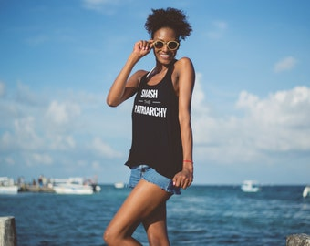 """Feminist Tank top: """"SMASH THE PATRIARCHY"""" shirt (multiple colors) by Fourth Wave feminist apparel, handmade, super soft, great gift!"""