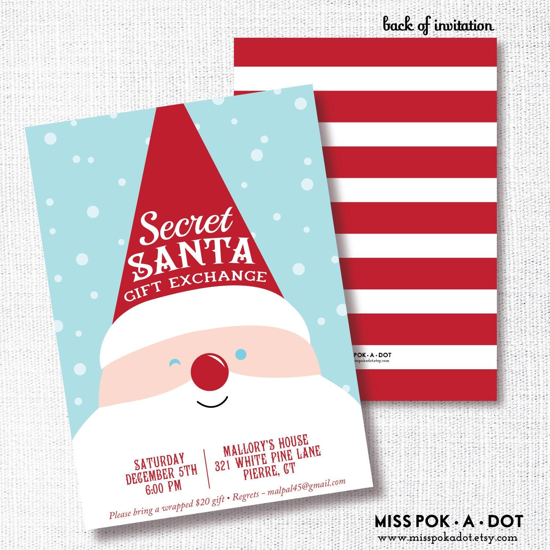 Secret Santa Gift Exchange Invitation Printable Kids