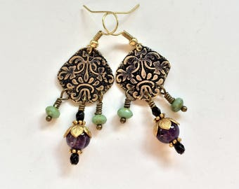 Etched Brass Earrings, Art Deco Earrings Amethyst Beads - Free Domestic Shipping