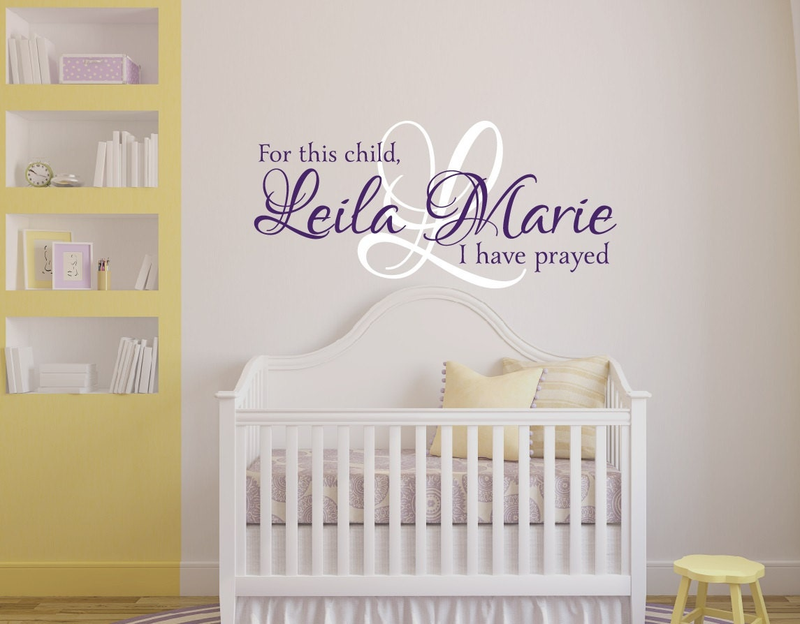 for this child i have prayed wall decal girls name wall. Black Bedroom Furniture Sets. Home Design Ideas