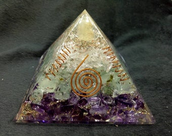 Instant Money And Peace Orgone Pyramid Citrine-Amethyst-Green Aventurian-Crystal Quartz 70 MM With Copper, Metal And Payrite