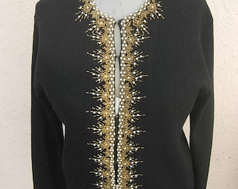 "Bust: 38"" - 40"" -- 1950s-60s Lambswool Sweater with Cool Beadwork"
