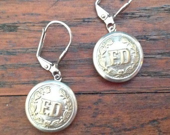 Fire Department Button Earrings
