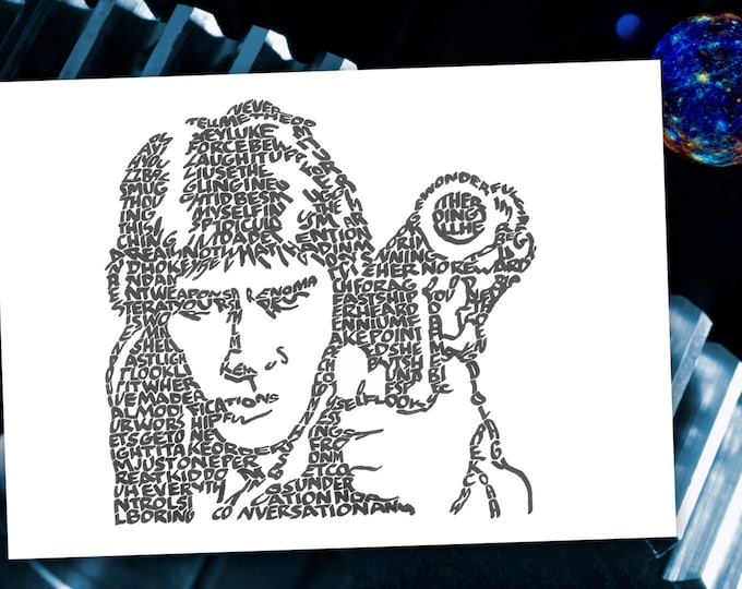 """Han Solo - """"Laugh it up fuzzball"""" and other quotes from Han are used to form his image. A Limited Edition Print of a Hand Lettered Image"""