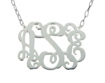 Sale Monogram Necklace 1 Inch Sterling Silver Any Initial Monogram Necklace Personalize Silver Monogram Necklace