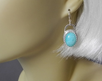Genuine Turquoise Amazonite Earrings Set in Sterling Silver are Perfect for a Gift or Everyday Wear