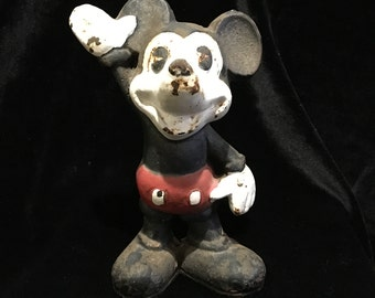 Mickey Mouse Antique Cast Iron Still Bank - Pie Eyed Mickey