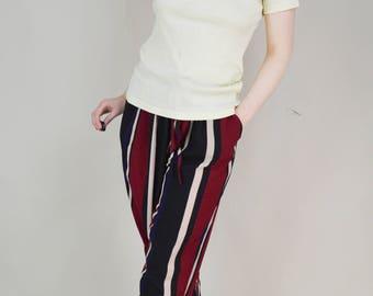 90s Basic Cream Cotton Ribbed T Shirt S