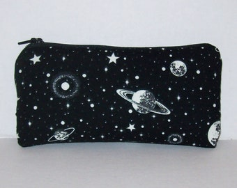"""GLOW in the DARK, Pipe Pouch, Space Pipe Case, Glass Pipe Bag, Planets, Padded Pipe Pouch, Stoner, 420, Weed, Smoke Accessory - 5.5"""" SMALL"""