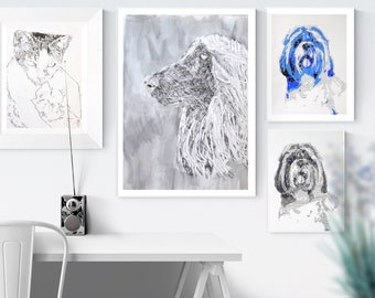 Custom Pet portrait:  A professional animal portrait for dog lover, individual animal portrait