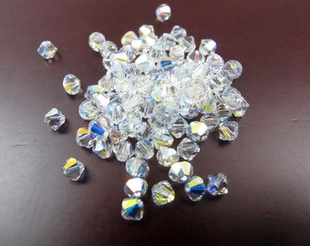 Aurora Borealis (AB) Clear Swarovski Bicone Beads (50X) (S562)
