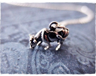 Silver Grazing Cow Necklace - Sterling Silver Cow Charm on a Delicate Sterling Silver Cable Chain or Charm Only