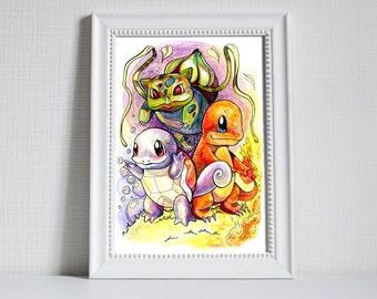A3 Pokemon Print - Bulbasaur, Charmander and Squirtle