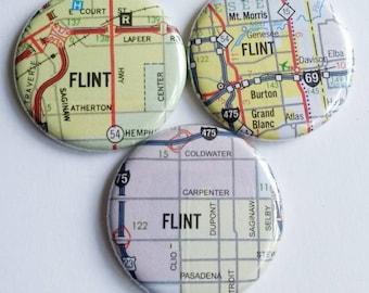 Flint magnets, Michigan map magnet set of three, michigan pride, mitten state, hometown, Flint Michigan