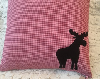 Gingham Moose Pillow Cover