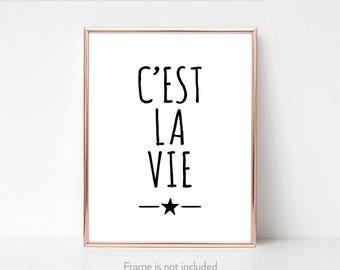French expressions print / 'C'est la vie' / Original wall art / Fun popular quotes / Français /