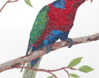 Glitter Painting - Black Capped Lory