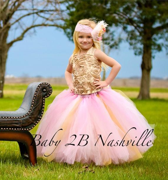 Vestido vintage oro vestido vestido rosa niña de las flores
