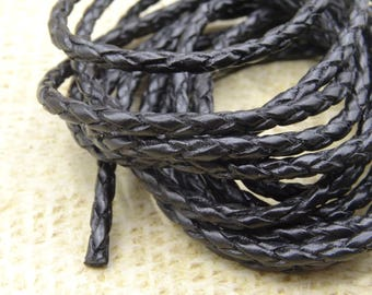 1 m black braided leather cord 3mm