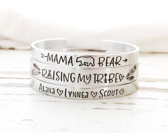 Hand stamped Mama Bear Bracelet Raising My Tribe Mommy jewelry Baby name cuff bangle Momma jewelry set of bracelets mothers day gift for her
