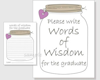 Words of Wisdom for the Graduate Rustic Mason Jar Printable Cards and Sign for a Graduation Party - purple hearts