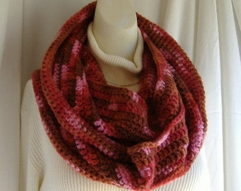 Wool Infinity Scarf, Pink, Red, Crochet, Circle, Wrap, Thick Cowl, Womans, Warm Extra Long Stylish Mothers Day Gift Multicolor