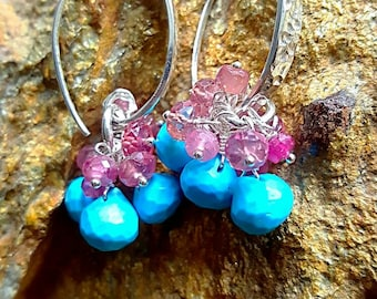 Turquoise Kisses with Pink Sapphires on Hammered Sterling Silver December Birthstone Bridal Earrings Gift for Her