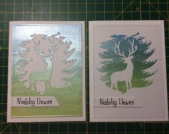 Set of 2 Welsh language handmade christmas cards. Nadolig llawen!