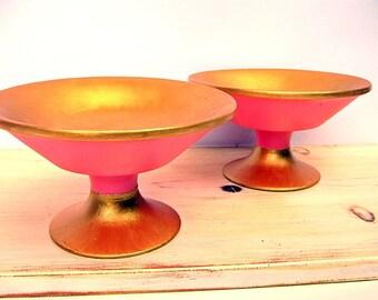 Decorative Bowls, Mid Century Decor, Salmon Pink, Wooden Bowls, Mid Century Modern, Coral Pink, Pink and Gold, Handmade