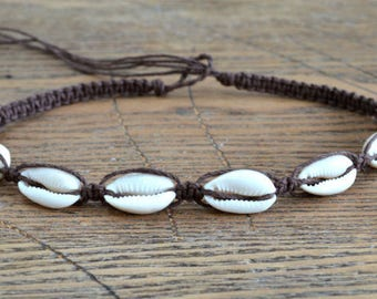 Hemp Necklace with Cowrie Shells Brown Colors Shell Surfer Choker
