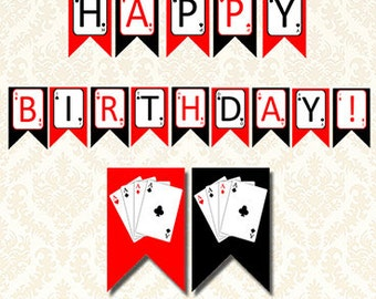 Printable Poker Birthday Banner, Casino Las Vegas Happy Birthday Party Bunting, Poker Night, Casino Night, Vegas Night, Playing Cards Banner