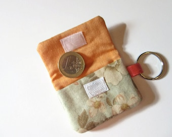 Keyring pouch for chip caddy, flowers, orange salmon, blue