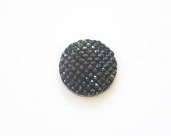Shine flat 16mm black resin cabochon