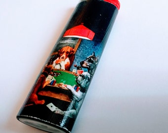 Dogs Playing Poker - Painting by Cassius Marcellus Coolidge - Custom Lighter