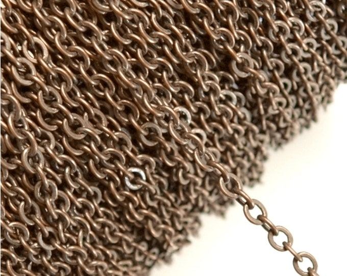 CLOSEOUT - Chain, Cable Flat 4mm, Antique Copper - 100 Meters (CHIAC-CAF40)