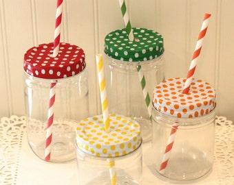 Plastic Mason Jars, 15 Plastic Mason Drink Jars with Polka Dot Lids, Wedding Favor, Baby Shower, Mason Jars, Custom Favors,