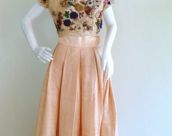 Raw silk skirt and Raw silk crop top with beautiful hand embroidery