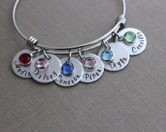 Childrens Names Bracelet, Hand stamped aluminum disc, Swarovski crystal birthstones and stainless steel bangle bracelet