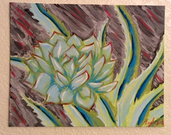 Succulent and Aloe Plant Painting