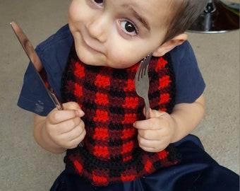 Plaid Baby Bib ***Crochet Pattern***